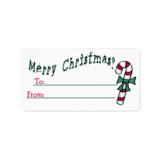 Be-Ribboned Candy Cane To-From Sticky Tag