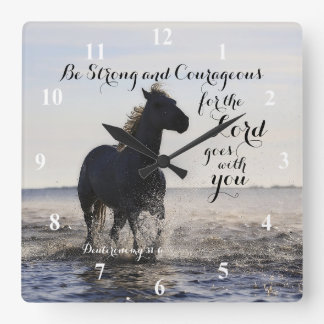 Be Strong and Courageous Bible Verse Deut 31 Horse Clocks