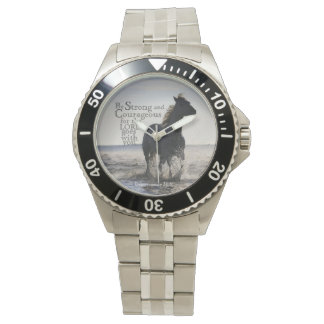 Be Strong and Courageous Bible Verse Deut 31 Horse Wrist Watch