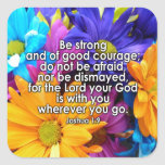 Be Strong Bible Scripture Square Stickers