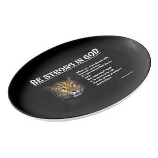 Be Strong in God - Porcelain Coupe Platter
