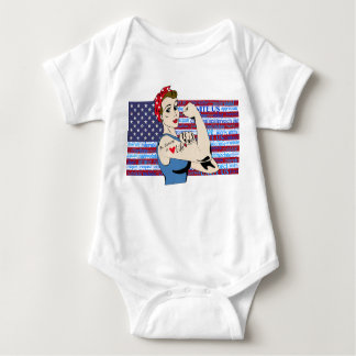 """Be Strong in Life"" Patriotic Women inspirational Baby Bodysuit"