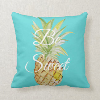 Be Sweet Pineapple Turquoise Blue Watercolor Throw Pillow