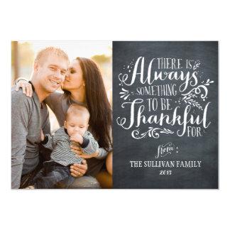 Be Thankful Chalkboard Thankgiving Photo Card