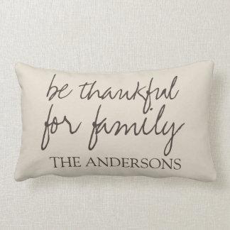 Be Thankful Custom Design Rustic Family Name Lumbar Pillow