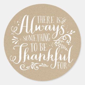 Be Thankful Faux Kraft Paper Thanksgiving Sticker