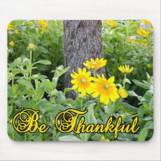 Be Thankful Flower and Leaves Design Mouse Pads