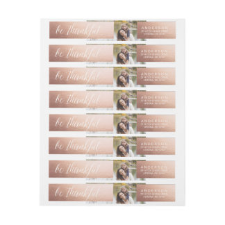 BE THANKFUL ROSE GOLD Thanksgiving Address Labels