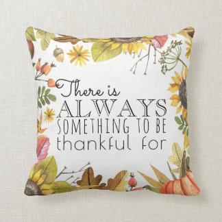 Be Thankful Thanksgiving Autumn Sunflowers Throw Pillow
