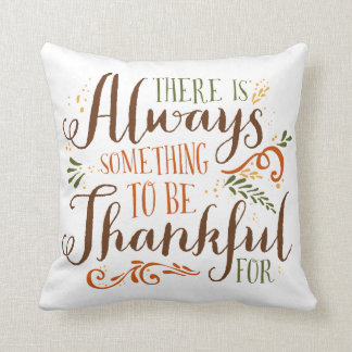 Be Thankful Whimsical Script   Thanksgiving Pillow