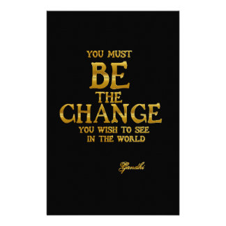 Be The Change - Gandhi Inspirational Action Quote Customized Stationery
