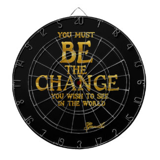 Be The Change - Gandhi Inspirational Action Quote Dartboard
