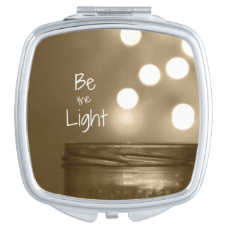 Be the Light Inspirational Quote Travel Mirror