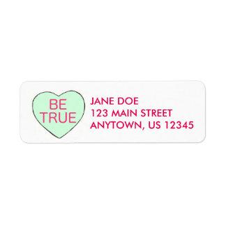 BE TRUE Candy Heart Valentine's Day Address Label