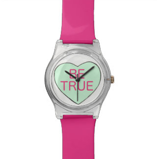 Be True Green Pink Candy Heart Valentine's Watch