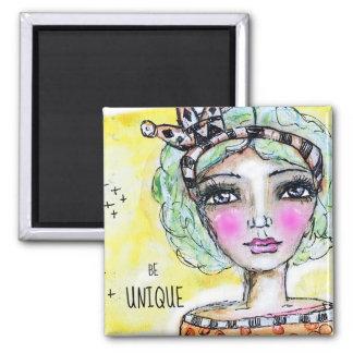Be Unique Princess Girl Illustration Artistic Cute Magnet