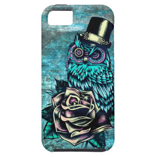 Be Wise tattoo style owl on digital Teal wood base Case For The iPhone 5