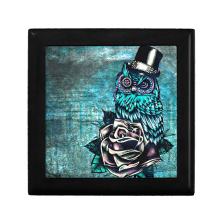 Be Wise tattoo style owl on digital Teal wood base Gift Box