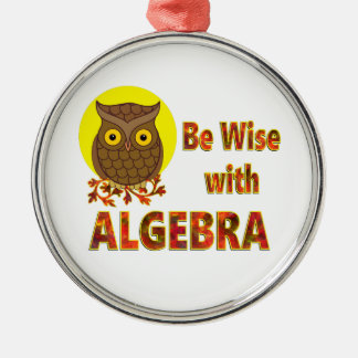 Be Wise With Algebra Silver-Colored Round Ornament
