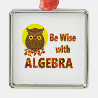 Be Wise With Algebra Silver-Colored Square Ornament