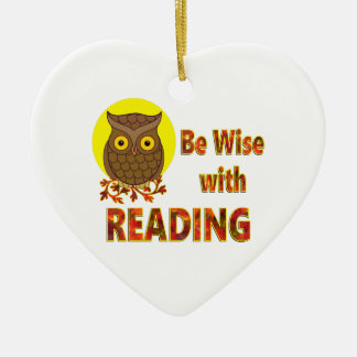 Be Wise With Reading Ceramic Heart Ornament