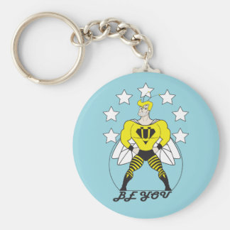 Be You (Bee You)-White stars. Basic Round Button Keychain