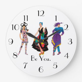 Be You. Fashion Design Fashionista Diva Large Clock