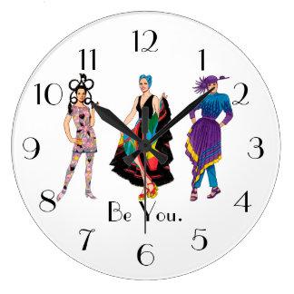 Be You. Fashion Design Fashionista Diva Wall Clocks