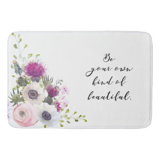 Be Your Own Kind of Beautiful Calligraphy Quote Bath Mat