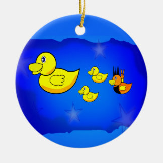 Be Yourself Duck Round Ceramic Ornament