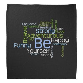 BE Yourself  Inspirational Word Cloud Bandana