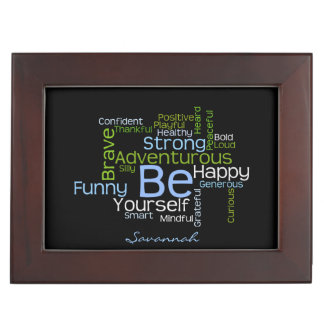 BE Yourself  Inspirational Word Cloud Keepsake Box
