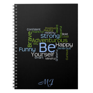 BE Yourself Inspirational Word Cloud Notebooks