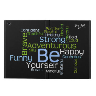 BE Yourself  Inspirational Word Cloud w/monogram iPad Air Covers