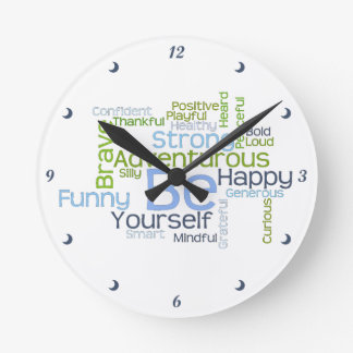 BE Yourself Motivational Word Cloud Round Clock