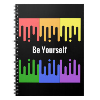 Be Yourself Notebook with rainbow paint design