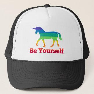 Be Yourself Rainbow Unicorn Trucker Hat