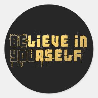 Be yourself round sticker