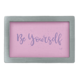 Be-Yourself-Typography-Purple Rectangular Belt Buckle