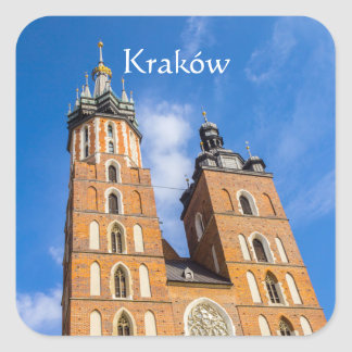 Beaautiful Krakow, Mariacki church, various gifts Square Sticker