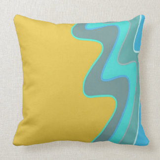 Beach Abstract Minimalist Shoreline Artwork Throw Pillow