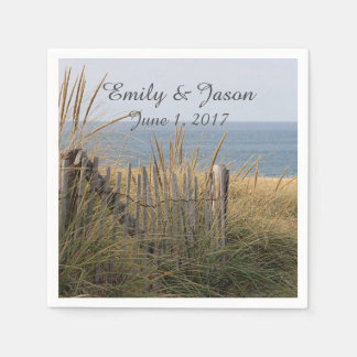 Beach and beach fence disposable napkins