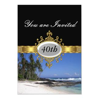 Beach and Black  Birthday Party Glamour Invitation