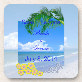Beach And Blue Skies Wedding Save The Date Coasters