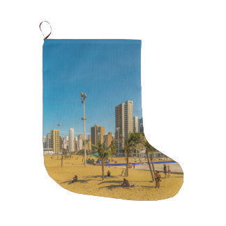 Beach and Buildings of Fortaleza Brazil Large Christmas Stocking