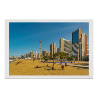 Beach and Buildings of Fortaleza Brazil Poster
