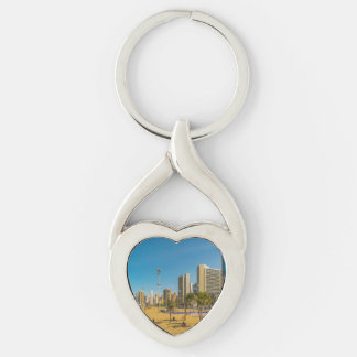 Beach and Buildings of Fortaleza Brazil Silver-Colored Twisted Heart Keychain