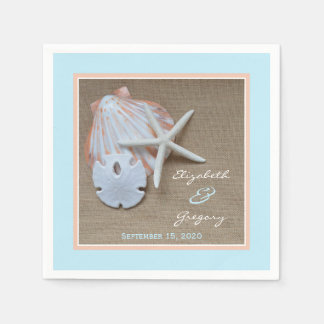 Beach and Burlap Wedding Paper Napkins