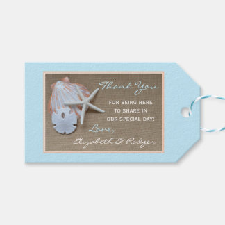 Beach and Burlap Wedding Thank You Favor Pack Of Gift Tags