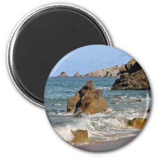 Beach and cliff at Quiberon peninsula in France 2 Inch Round Magnet